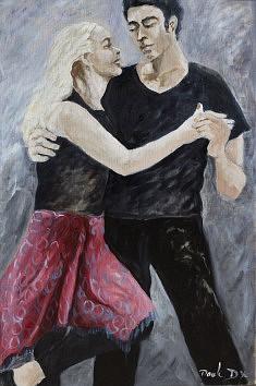 Le tango des amoureux Huile sur toile (54 x 80)