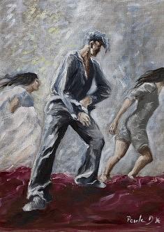 Sortie de scène Huile sur toile (46 x 60)