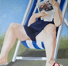 Lecture d'été Huile sur toile (50 x50)