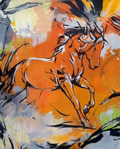 Cheval orange, 100x81cm