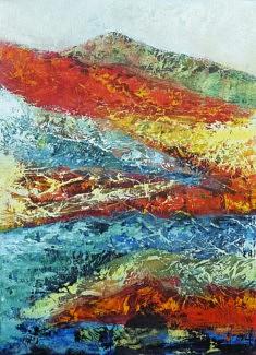 Huile et collage sur châssis bois 100x73 cm