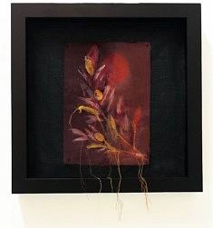 Branche d'olivier d'automne - Monotype et broderie, papier buvard et Tarlatane, broderie à l'aiguille, 18 x 24 cm