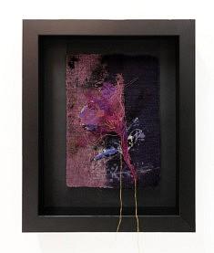 Pink Lady - Linogravure et broderie sur tarlatane et papier,  broderie à l'aiguille et au crochet de Lunéville, 30 x 24 cm