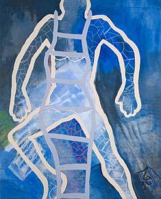L' HOMME 2020 / 2013 Toile - peinture acrylique, pastel sèche / Format 150 x 121 cm
