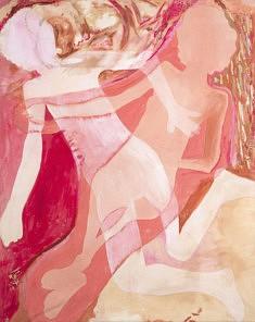 ROSEN / 2019 Toile - peinture acrylique Créée avec la participation du modèle nu parisienne Sylvianne Mook