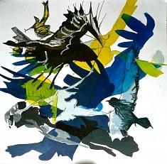 Les Oiseaux 10 - techniques diverses sur papier (40 x 40 cm)