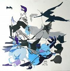 Les Oiseaux 3 - techniques diverses sur papier (40 x 40 cm)