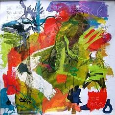 Les Oiseaux 8 - techniques diverses sur toile (80 x 80 cm)