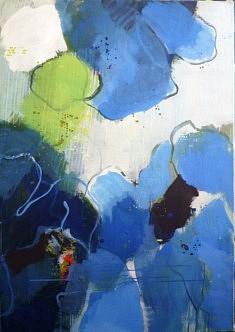 """Série """"fleurs-paysage3"""" peinture sur toile, 92x65cm"""