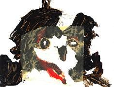 Pierre-Olivier Clerc, La jeune fille et la mort, 32x24,5 cm, café, calque et pastel à l'huile sur papier, 2017