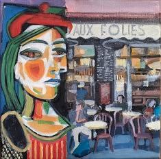 """Série Belleville-Picasso """"Aux Folies"""", 20x20cm"""