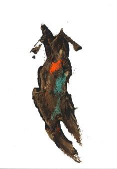 Danse timide - café et pastels sur papier - 24x32cm - 2020