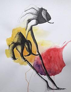 Grands tournesols en duos,  encre de chine et aquarelle sur papier, 50 x 65 cm, 2020
