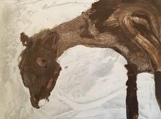 Le Petit cheval blanc - gesso et café sur papier - 30x21cm - 2019