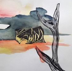 Les Inconnus, encre de chine et aquarelle sur papier, 20 x 20 cm, 2020