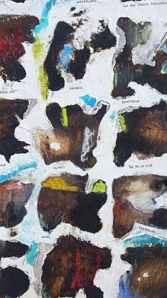 Typologie des îles (extrait) - café, calque, huile et pastels sur carton - 71x54cm - 2020