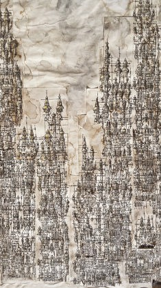 Ville verticale (extrait) - encre de Chine et lavis sur papier - 80x35cm - 1984
