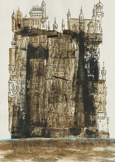 Babel, mer et montagne - café, feutre et pastel sur papier gris - 30x42cm - 2021
