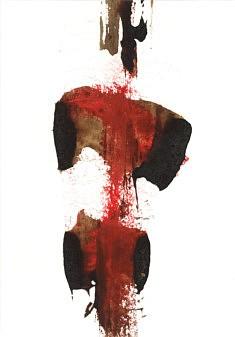 Dame Rouge - café et pastel sur papier - 20x29cm - 2020