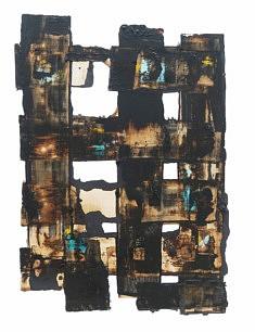 Du Brutalisme en architecture - café, gesso noir et pastels sur carton - 50x65cm - 2020