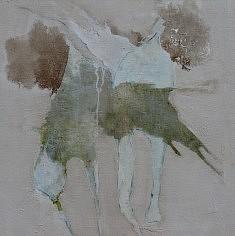 Jean-Pierre Lourdeau,  Fukushima Mon Amour (Encre, acrylique, vernis, pigments, colle à bois, 80x80cm, 2015)