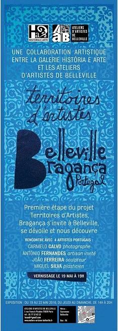Belleville-Bragança (mai 2016), affiche bleue par Paola Afonso