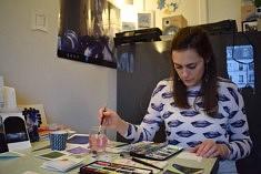 Dans l'atelier de  Sarah Hoyt (photo Noémie Brancard)