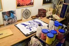 Dans l'atelier de Brian Cougar (photo Noémie Brancard)