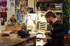 Dans l'atelier de Marcus McAllister (photo Noémie Brancard)