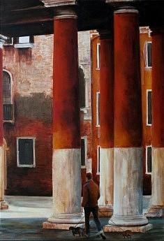 Colonnes, acrylique sur toile, 130cm x 97cm