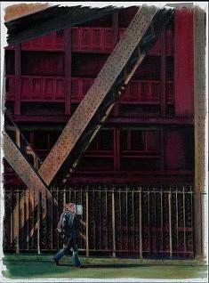 Le Pont, acrylique sur toile, 81cm x 61cm
