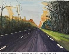 Olivier Furter, Moderne Landschaft II, 76x56cm,  gouache sur papier, 2018