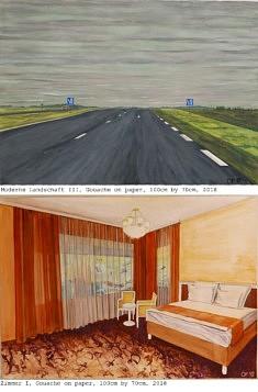 Olivier Furter, Moderne Landschft III et Zimmer I, 100x70cm gouache sur papier 2018