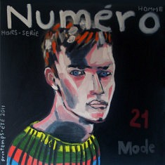Juan Diego Vergara, Magazine Numéro (Serie réinterprétation des couvertures de magazines, Huile sur Toile, 100 x 100 cm