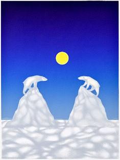 Aline Deguen, La divergence des icebergs (Serigraphie et crayons de couleur, 37,5 x 50 cm)