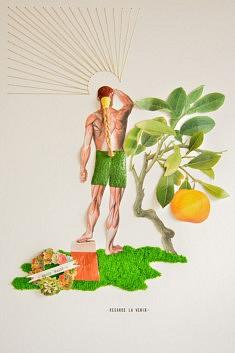 Christophe Horlain, Regarde-La venir, assemblage & bas relief, 30 x 40 cm
