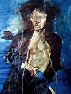 Nadia Atek, Femme Fond Bleu, (encre sur papier)