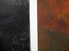 Michèle Rizet, détail de 2 grands tirages (lave noire et lave ferrugineuse) d'après pastels
