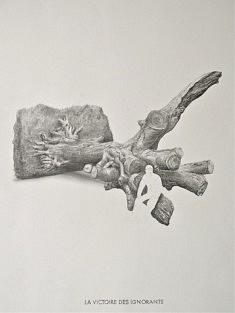 Yves Helbert, La victoire des ignorants, graphite sur papier, 30x40cm