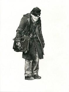 Denis Viougeas, Voltaire, Fusain et Pierre Noire sur Papier, 32 x 40 cm