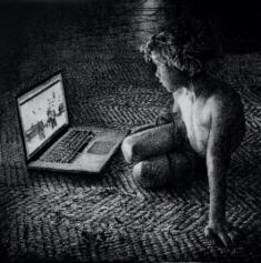 Thomas Lévy-Lasne, Le dessin animé, 2015, fusain sur papier, 88,4 x 88,4 cm (courtesy de l'artiste et de la galerie Les Filles du Calvaire)