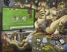 Marcos Carrasquer, Fin de mois, 2019, huile sur toile, 89 x 116 cm (courtesy de l'artiste et de la galerie Polaris)