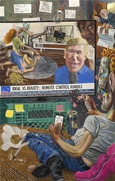 Marcos Carrasquer, Reality check, 2019, gouache et tempera sur papier, 125 x 80 cm (courtesy de l'artiste et de la galerie Polaris)