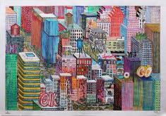 Marie-Catherine Wild, American dream 01, 65 x 45 cm, dessin sur papier millimétré, 2019