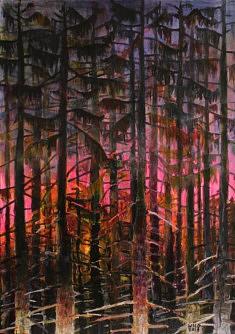 Marie-Catherine Wild, Rose sunset, 50 x 73 cm, acrylique sur toile, 2019