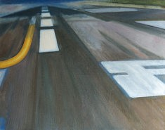 Olivier Furter, Runway, huile sur papier, 63 x 50 cm, 2020