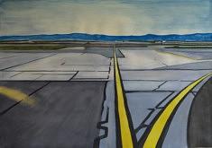 Olivier Furter, Leaving SF VI, gouache sur papier, 100 x 70 cm, 2020
