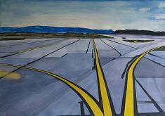 Olivier Furter, Leaving SF VII, gouache sur papier, 100 x 70 cm, 2020
