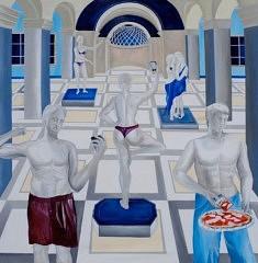 Catherine Szleper, Louvre, An 3029 - Que restera-t-il de nous ?, 2020, acrylique sur toile, 126 x 126 cm (courtesy de l'artiste)