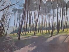 Anne Catoire, Planter des arbres pigments et colle sur panneau médium, 80 x 106,5 cm, 2019